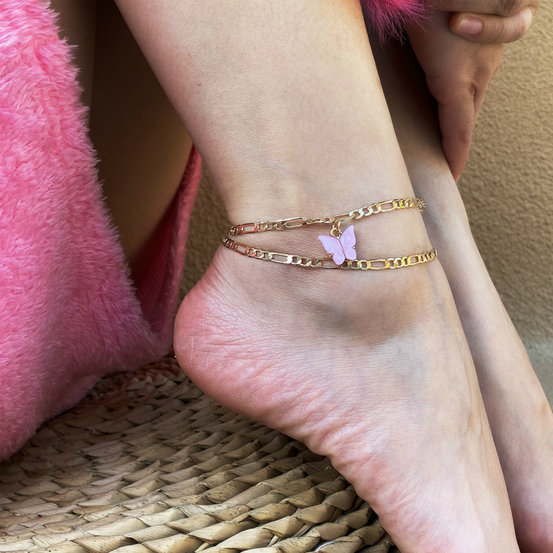 PZMYCS Fashion Cute Butterfly Anklets for Women Gold Silver Color Chain Ankle Bracelet on The Leg 2020 Bohemian Foot Jewelry