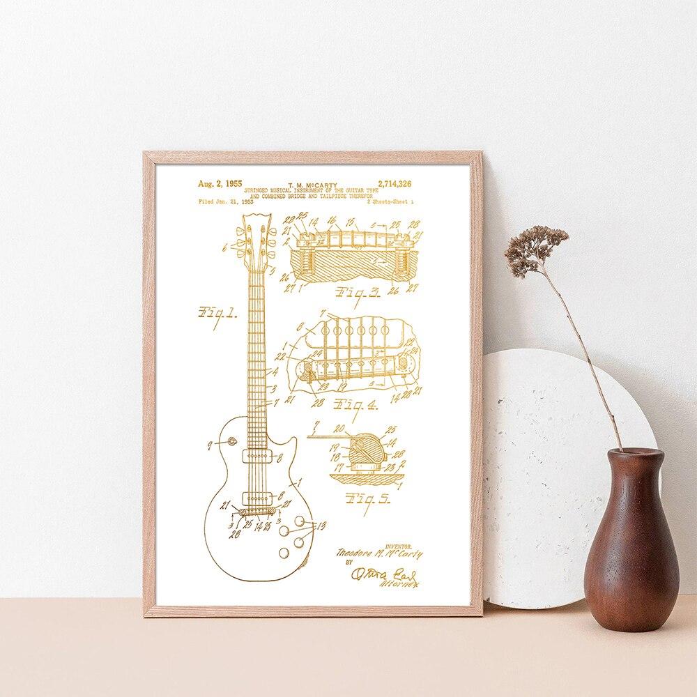 Gibson Les Paul-Cuadro de charol Vintage, póster de arte de pared, impresión estilo pintura al óleo para sala de estar, arte de guitarra, decoración del hogar, 1955
