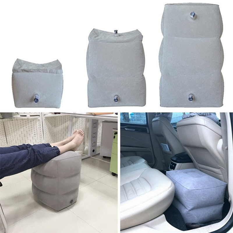 PVC Inflatable Travel Pillow Foot Rest Airplane Car Bus Footrest Pillow Height Adjustable Kids Flight Sleeping Resting Pillow image