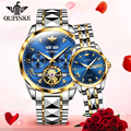OUPINKE Luxury Couple Watch Fashion Men Chronograph Mechanical Wristwatch Classic Blue Automatic Watch Women Sapphire Waterproof