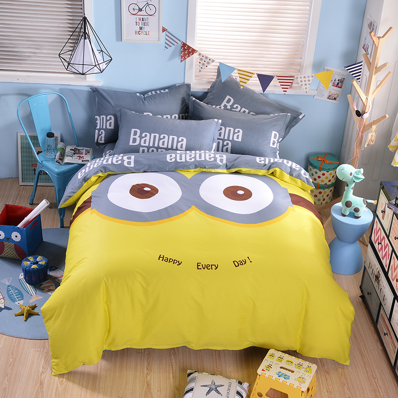 Набор постельного белья с миньонами из мультфильма, желтый хлопковый комплект из 3 предметов, двуспальный/двуспальный Размер, постельное бе