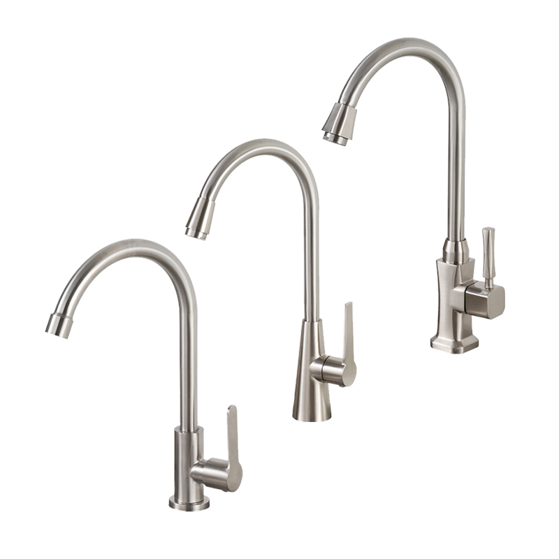 Classic Kitchen Faucet Brushed Process Swivel Spout Sink Faucet Curved Tube Single Cold Water Tap Deck Mounted Wash Basin Tap