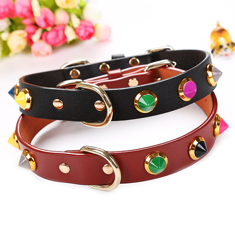 New Style Dog Cat Genuine Leather With Diamond Neck Ring Collar Pet Traction Pet Supplies