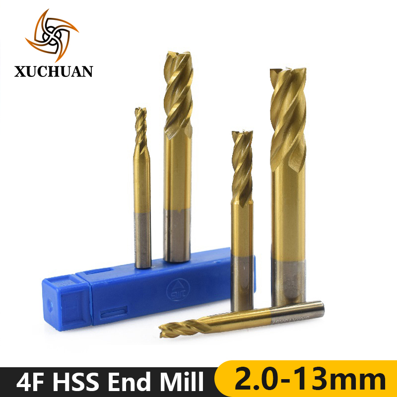 1pc 2-13mm TiN Coating End Milling Cutter 4 Flutes Straight Shank End Mill High Speed Steel Milling Bit