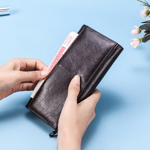 Image 2 - Contacts Genuine Leather Women Long Purse Female Clutches Money Wallets Brand Design Handbag for Cell Phone Card Holder Wallet