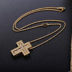 Image 5 - Slovecabin 925 فضة إيطاليا Luxulry مزدوجة عبر نقل D رسالة سلسلة بيل إيبوك دلاية من حجر الزركون قلادة مجوهرات