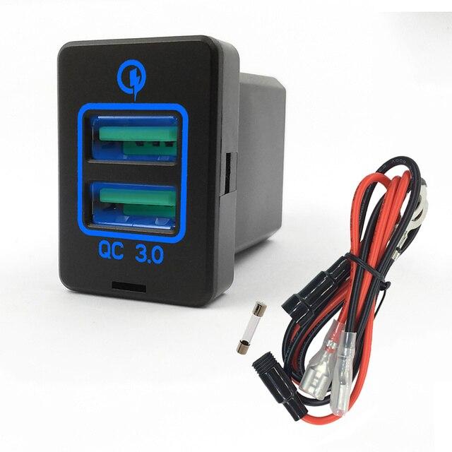 Budendeer QC3.0 gniazdo USB do ładowarki podwójny Port USB ładowarka Volt przejściówka do wyświetlacza Toyota Corolla RAV4 Ralink Prado 12-24V