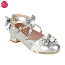 Spring Autumn Silver Golden Color Lolita Shoes Shiny Metallic Women Pumps Wedding Shoes Party Ladies with Lace Bow Drop Shipping