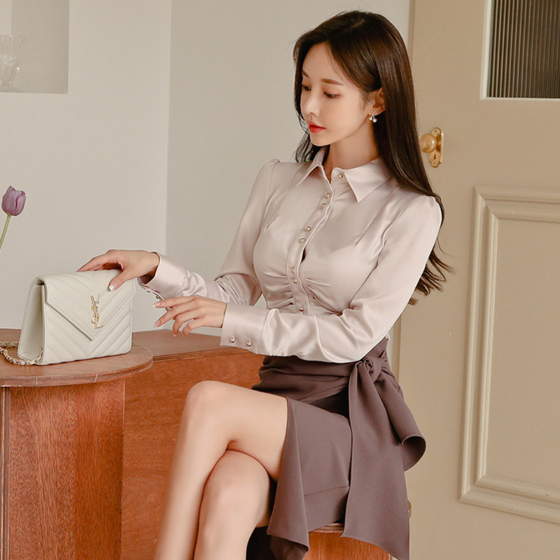 2019 autumn and winter models Korean single-breasted slim shirt + lace side slit skirt Single Breasted