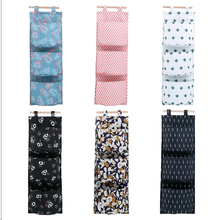 Oxford cloth Printing Hanging Storage Bag 3 Pockets Wall Mounted Wardrobe Hang Bag Wall Pouch Cosmetic Toys Organizer