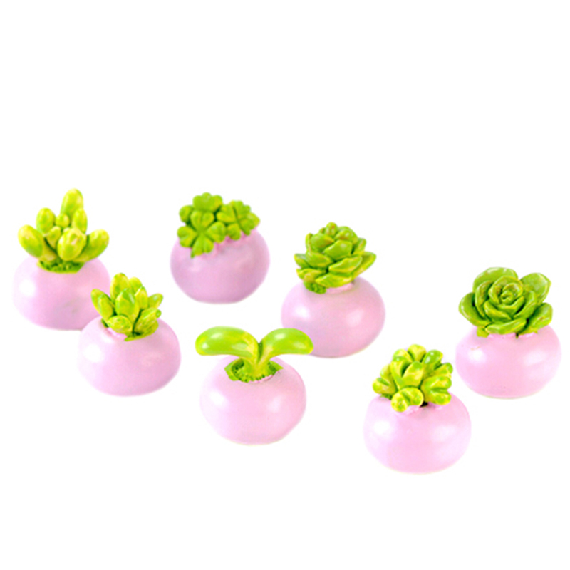 2PCS Mini Miniature Green Plant In Pot For Dollhouse Decoration Home Decor Doll Houses Accessories Random