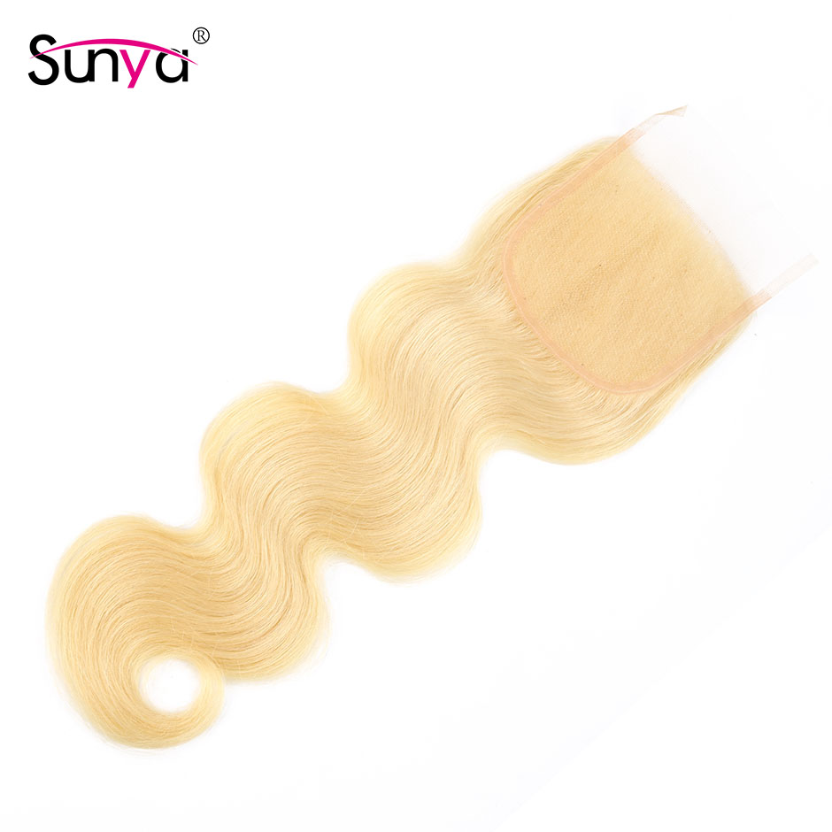 Sunya Hair Blonde 613 Body Wave Lace Closure Malaysian Remy Human Hair 4x4 Top Closure Bleached Knots Swiss Lace Middle Part image