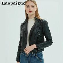 Plus Size 2019 Brand Winter Autumn Motorcycle Leather Jackets Black Jacket Women Coat White PU