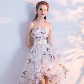 It's YiiYa Strapless Pleat Lace Up High-low Asymmetry Vintage Elegant Flowers Taffeta Prom Gown Dancing Party Prom Dresses LX018 4