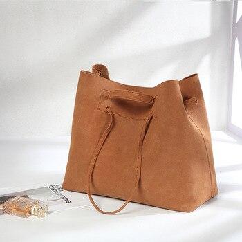 Bolsa de ombro femenina casual de couro de bolsa balde para mujeres...