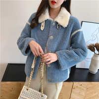 Grande taille en laine femmes veste automne hiver moelleux fausse fourrure manteau pardessus femme solide Outwear pleine manches