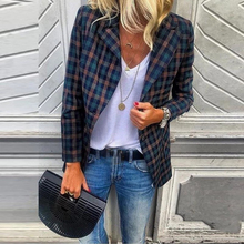 Winter Lange Ärmel Plaid Jacke Frauen Vintage Blazer Casual Arbeit Mäntel Streetwear Herbst Elegante Tasche Weibliche Oberbekleidung SJ4860C