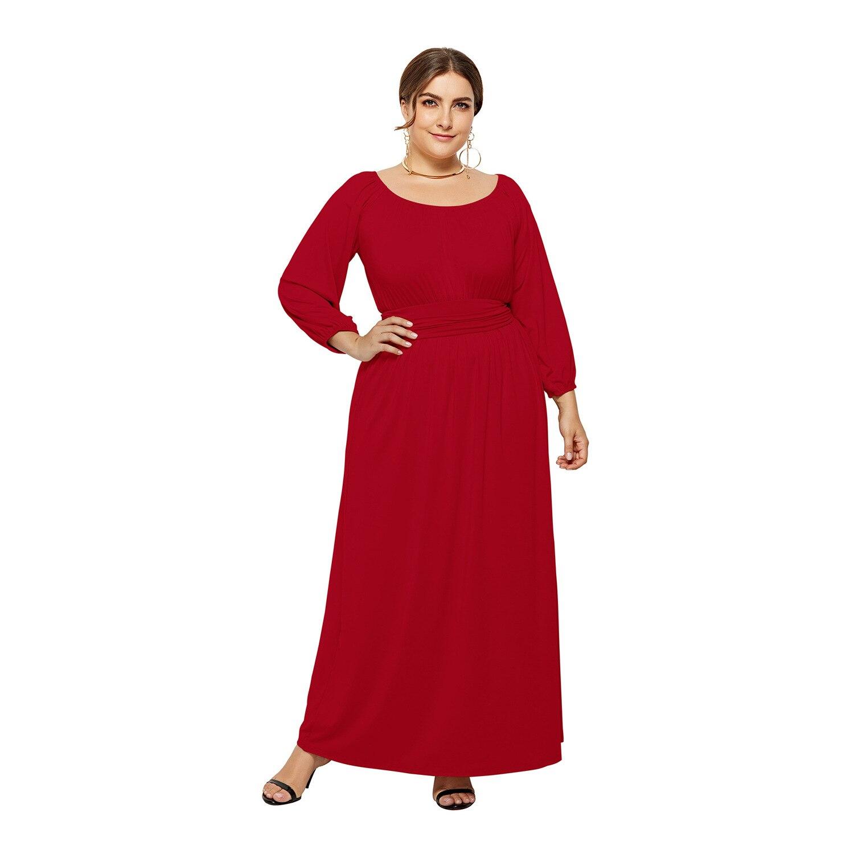 Costume quotidien owlprincesse le nouveau 2019 automne grand code de couleur pure de la robe col rond à manches longues robe ample