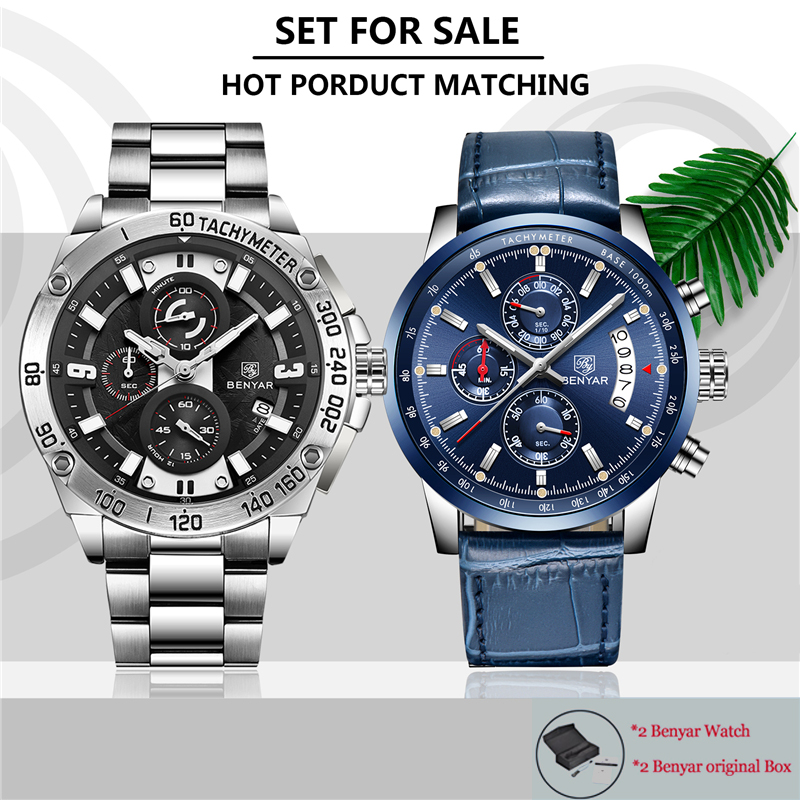 New Top Brand Luxury Fashion Set Men's Watches Benyar Quartz Steel Wristwatch Men Sport Waterproof Chronograph Relogio Masculino