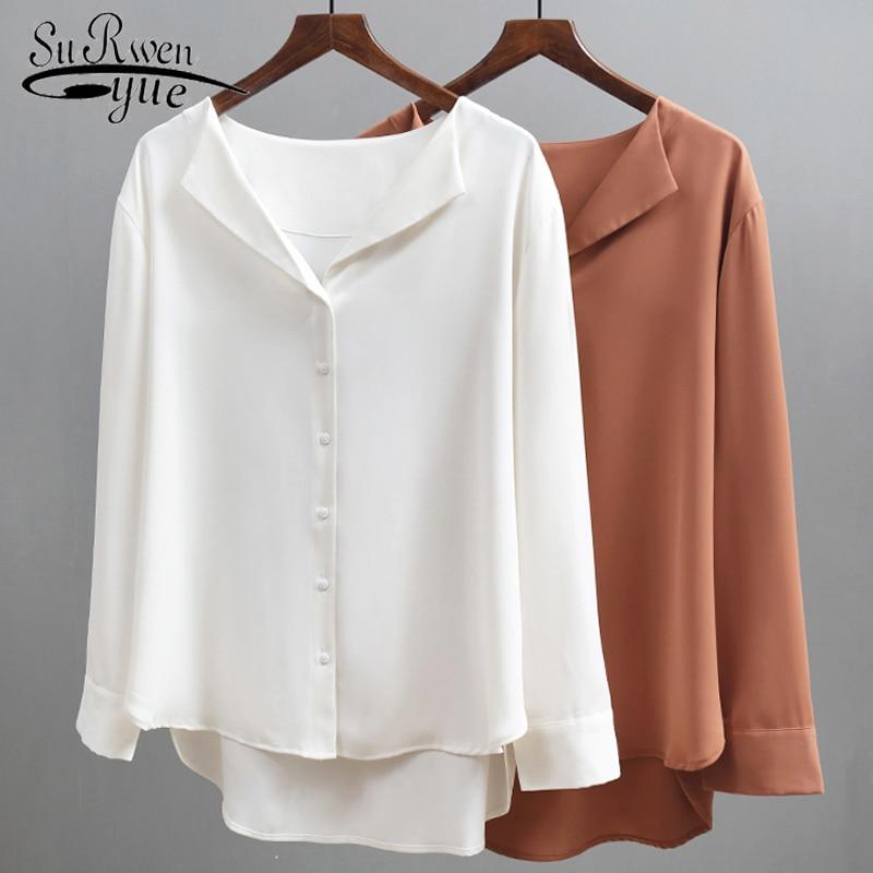 Autumn Chiffon Solid Blouse Women Long Sleeve Loose Button Women Blouse New  Women Tops Blusas Mujer De Moda 2019 5134 50