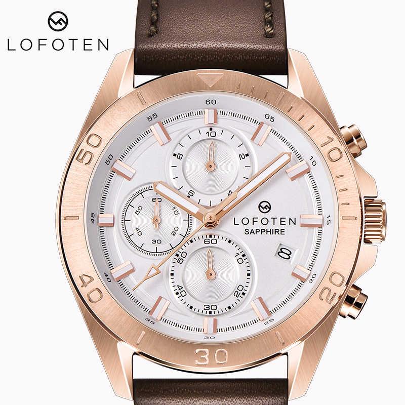 Sapphire หนังหรูยี่ห้อ Ocysa สแตนเลส Rose Gold Mens QUARTZ Chronograph น้ำหลักฐานหยุดนาฬิกานาฬิกาข้อมือ