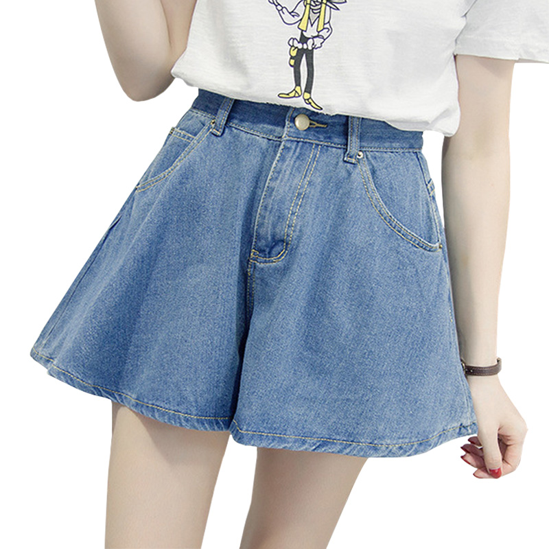 Summer WomenStreetwear Denim Shorts High Waist Wide Leg Shorts Jeans Short Femme Arrival New Vcqy