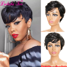 Short Pixie Cut Human Hair Wigs With Bangs For Women Machine Made Wig 100% Remy Human Hair Extension Wig Brazilian Hair