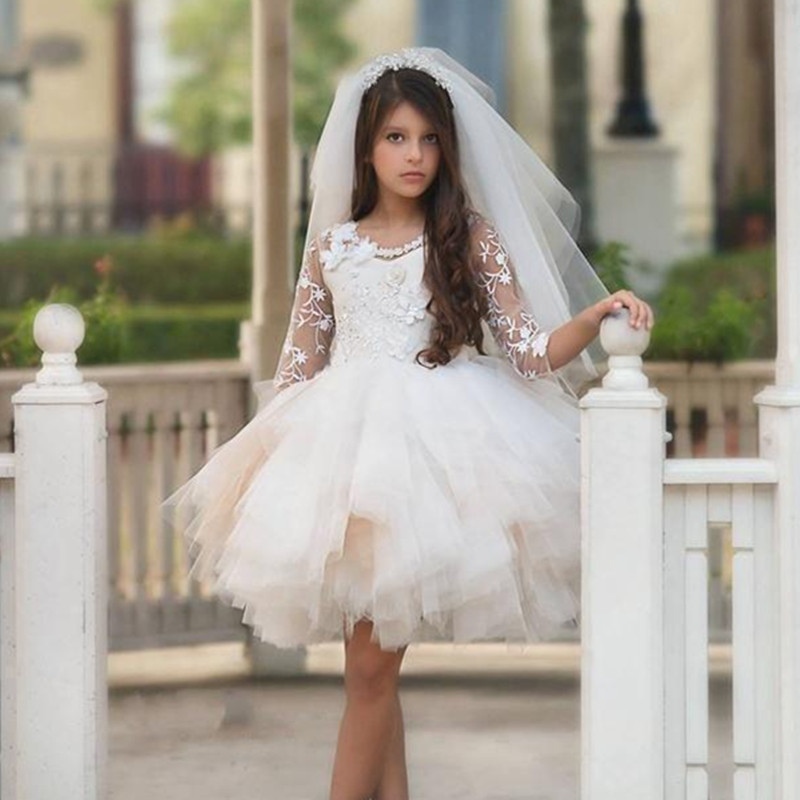 Flower Girl Dresses For Wedding Knee Length Jewel Lace Applique Girls Pageant Dresses With Half Sleeve Beaded Sash