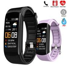 Banda inteligente de presión arterial de reloj de monitor, seguidor Fitness pulsera reloj inteligente Monitor de ritmo cardíaco reloj de pulsera inteligente de las mujeres de los hombres