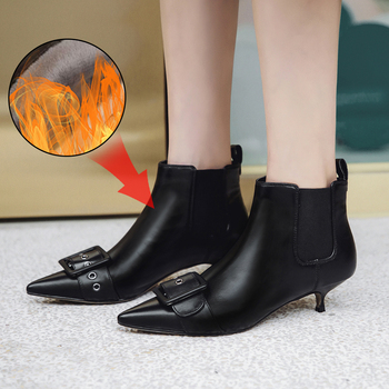 Plus Size 34-43 Fashion Genuine Leather Pointed Toe High Heel Boots Shoes Woman Elastic Band Buckle Strap Ankle Boots Women Boot