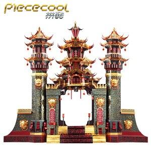 MMZ MODEL Piececool 3D puzzle metalowe mitologii południową bramę DIY laserowo wycinane wyrzynarka zabawkowa dekoracja stołu prezent dla dorosłych