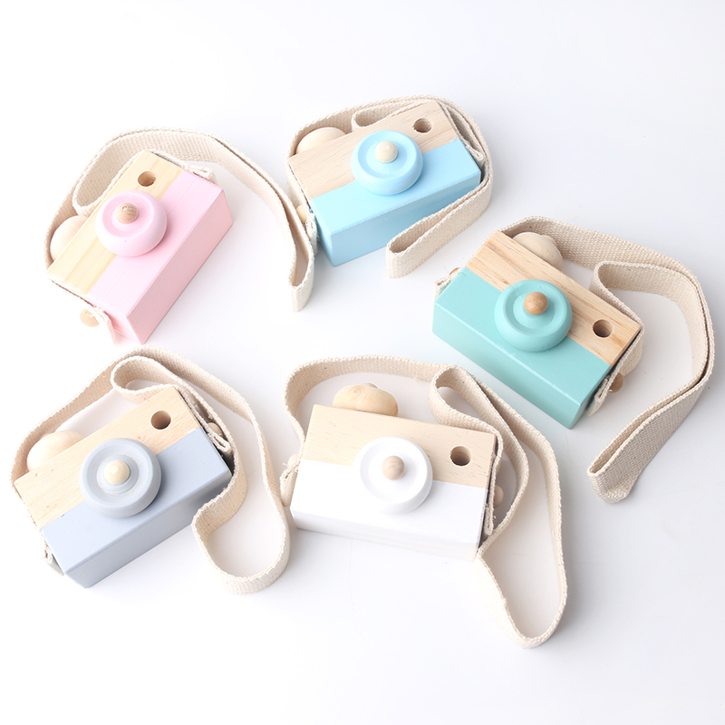 Nordic Style Hanging Wooden Camera For Kids Baby Cute Home Room Shelf Decor Painting Wide Strap Blue White Pink Mini Wood Camera