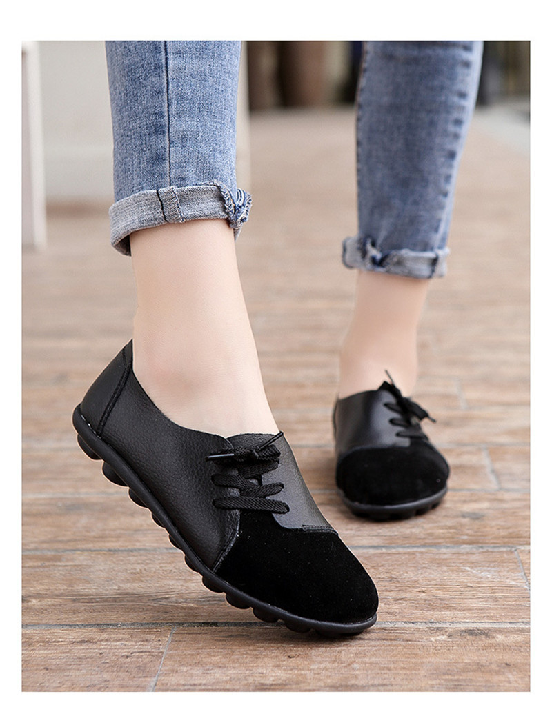 2019 New Leather Women Plus Size Sewing Flats Moccasins Loafers Ballet Flats Women Comfortable Soft Casual Shoes Ladies VT634 (26)