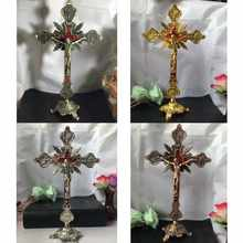 New Church Relics Figurines Crucifix Jesus Christ On The Stand Wall Cross Antique Religious Altar Home Chapel Decoration 4 Color(China)