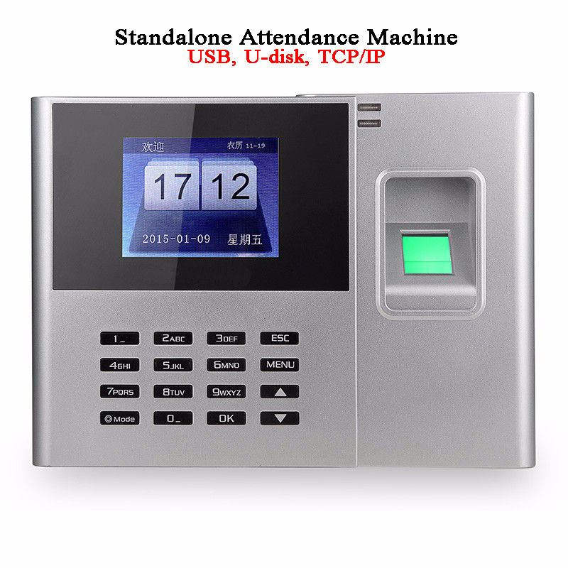 Office Employee Time Attendance Machine Standalone DC5V Disk USB TCP/IP RFI Card Wifi Battery Access Control