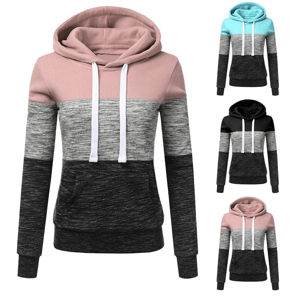 Casual Pink Hoodie Women Sweatshirt Patchwork Pullovers Soft Harajuku Shirt Hoody Hoodie Sweatshirt Outwear Sudadera Mujer 2019