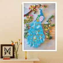 Ribbon Embroidery DIY Red girl Blue peacock flower Painting Full Needlework Cross stitch kits14CT Cross-stitch Sets