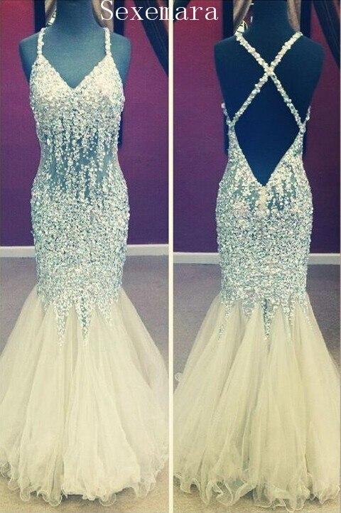 Prom Evening Gown 2020 V-Neck Backless Floor Length Tulle Crystal Mermaid Formal Vestido De Festa Mother Of The Bride Dresses
