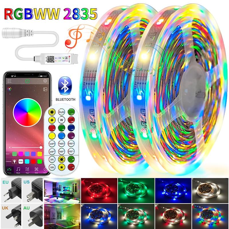 RGB RGBWW LED Strips Lights Bluetooth Luces Led RGB SMD 2835 Flexible NON Waterproof Tape Diode 5M 10M 15M 20M 25M 30M Remote Co