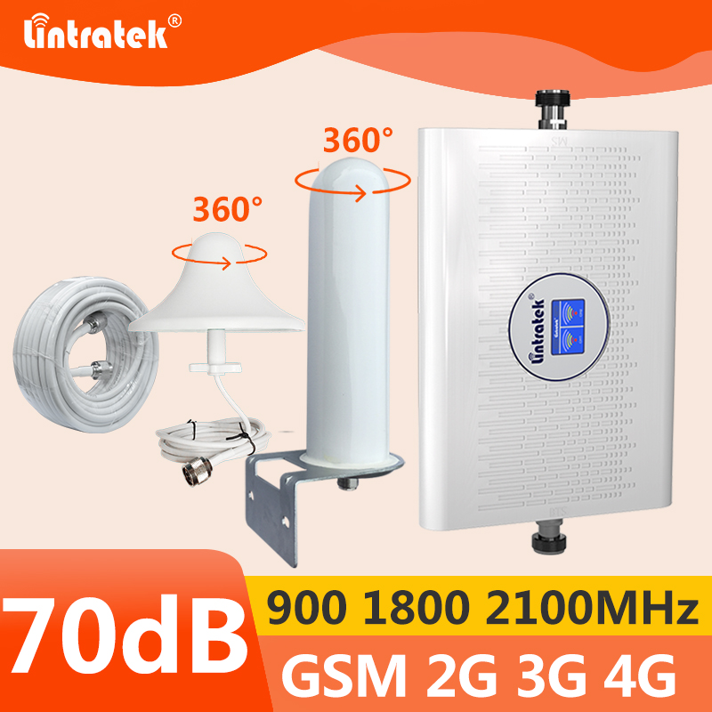 Lintratek 70dB GSM Repeater 3G 4G Signal Booster 900 1800 2100MHz Dual Band AGC 4G Repeater Ampli GSM UMTS LTE KW23C 360° Cover