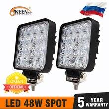OKEEN Gigger tamaño 4 pulgadas LED barra de luz 18W 48W Spot Flood 12V 24V todoterreno 4WD camión Tractor remolque 4x4 SUV LED luz de trabajo
