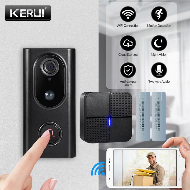 KERUI L16 Video Doorbell Home Intercom WIFI Smart Wireless Doorbell 960P Security Camera Two-Ways Audio APP Monitoring Doorphone