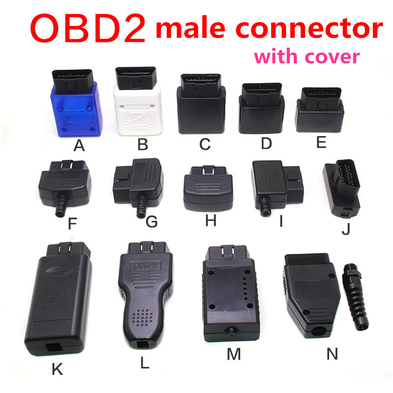 Automotive car male connector OBD2 16pin connector Gold plated curved needle male OBDII plug J1962M 12V 24V OBD-II male cover