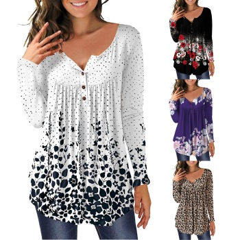 3xl Plus Size Floral Printed Tunic Shirts Fashion Round Neck Women Blouses Button Casual Spring Women's Shirt Clothing Top Mujer 1