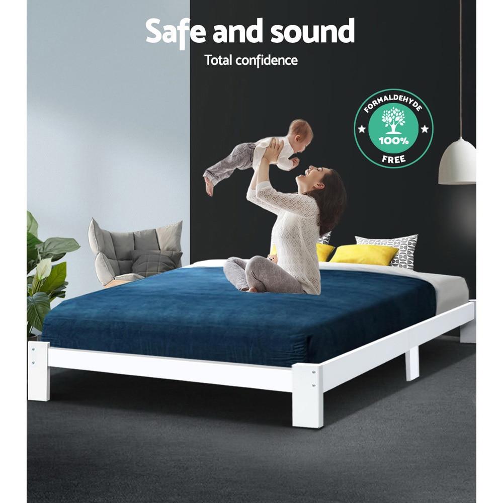Artiss Wooden Base Size Timber Modern Soft <font><b>Beds</b></font> Bedroom Furniture
