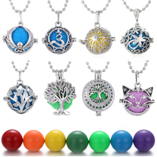 Aromatherapy Essential Oil Diffuser Necklace Mexico Balls Lava Stone Vintage Flower Lockets Pendant for Pregnancy Women Jewelry