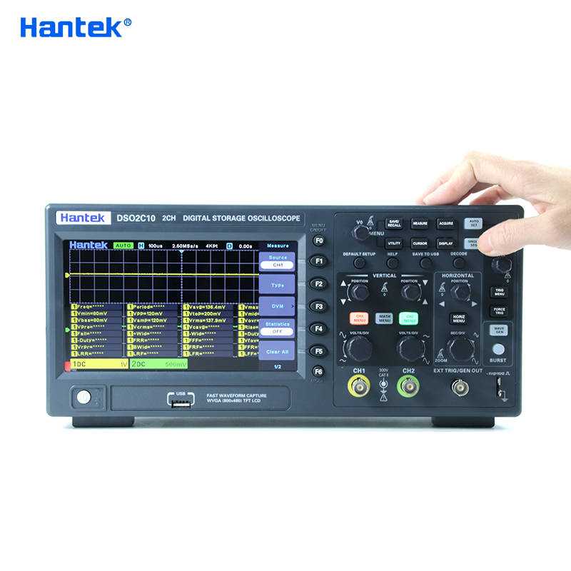 Цифровой осциллограф Hantek DSO2C10 DSO2D10 DSO2D15 2 Каналы 100 МГц/150 МГц запоминающий USB Osciloscopio 1GSa/s частота дискретизации