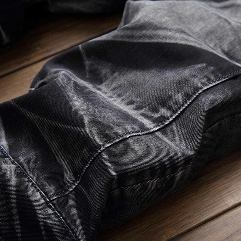 Dihope Mannen Broek Vintage Jeans Male Rechte Jeans Broek Merk Ripped Skinny Slim Denim Stretch Jeans Herfst Fitness