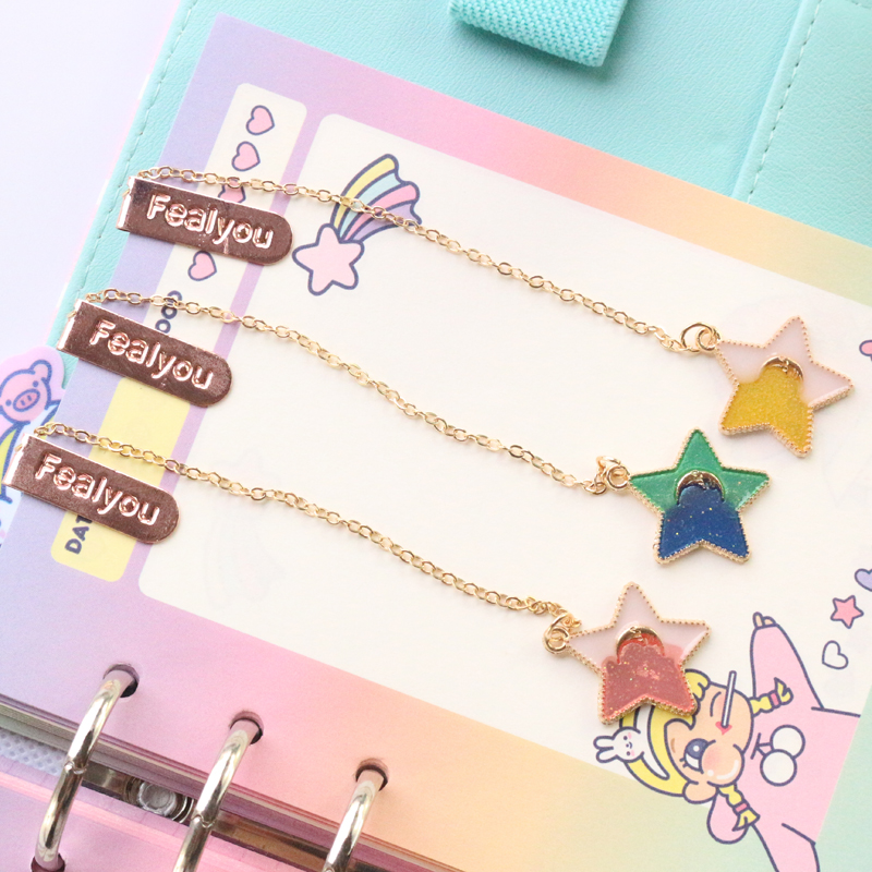 Domikee Cute Kawaii Colorful Korean Stars Design Office School Metal Bookmark Stationery Candy Student Kids Book Marks Supplies