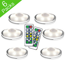 Dimmable Lighting LED Battery Puck Lights with Remote Control Touch Se